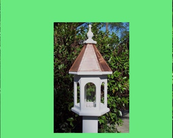 Handcrafted Wood Bird feeder with copper roof