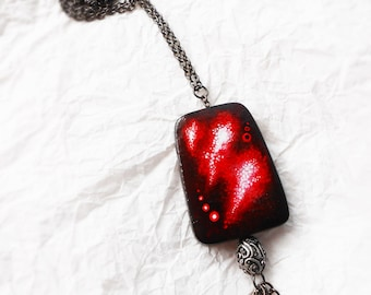 Vampire Necklace - Goth Pendant - Red black -  Handpainted wood - Wearable Art - Acrylic Painting OOAK