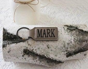 Leather Personalized  Key Holder, Custom Key Ring, Engraved Custom Key Chain, Step Father Gift Idea, Step Dad Key Chain