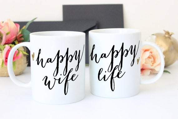 Wedding Gift Sets For Couples : Couples Mugs Set of 2 Mugs Gift for Couples Happy Wife, Happy Life ...