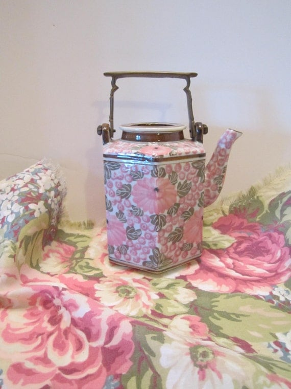 Vintage Ceramic and Brass Teapot - Six-Sided Hexagonal Teapot - Asian Pink Florals - Pink Green Brown - SWEET