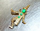 vintage jade jester brooch - 1960s Marvella gold/jade pin