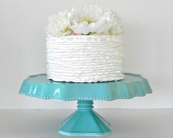 "Cake Stand 10""  Wedding Cake Stand Cupcake Stand Turquoise Blue Dessert Bar Cake Topper Wedding Event Rustic Beach Nautical Wedding"