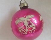 Vintage Christmas ornament pink ornament glass ball ornament stencil ornament bells evergreen branches and snow no 2