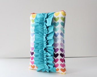 iPad sleeve / iPad case [choose your size] -- rainbow hearts