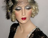 FRENCH FLAPPER MYSTIQUE- Great Gatsby Headband, 20s Flapper Headpiece, Black French Net Gatsby Headband, Speakeasy, Cocktail Party Headband