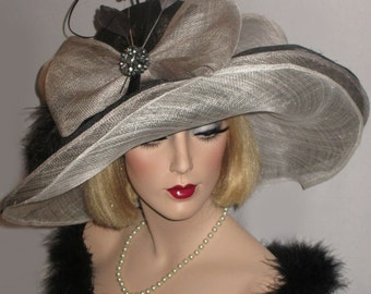 SHADES OF GREY, Black & White Layered Sinamay Derby Hat, Tea Party Hat, Extra Wide Brim Kentucky Derby Hat, Downton Abbey Diva Hat,