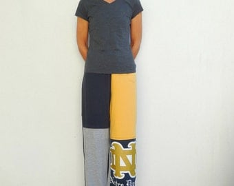 Notre Dame Football Fighting Irish T-Shirt Pants Women's Long Pants Recycled Tee Pants Blue Gold Gray L - XL Cotton Pants T-Shirt Clothing
