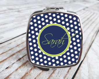 Bridesmaids Gift - Compact Mirror - Polka Dot in Navy & Lime | Choose Your Colors