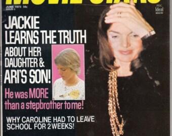 1973 Movie Stars Magazine - Jackie Kennedy Onassis & Caroline Kennedy on Cover!