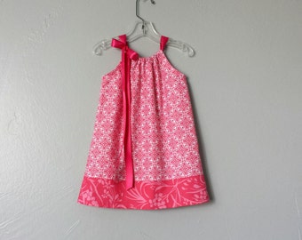 New! Girls Pink Pillowcase Dress - Deep Pink on Crisp White - Girls Pink Damask Sun Dress - Size 12m, 18m, 2T, 3T, 4T, 5, 6, 8, or 10