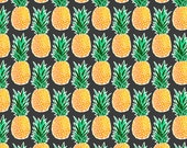 Tropical Pineapple Fabric by the Yard - Charcoal Gray