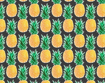 Tropical Pineapple Fabric by the Yard - Geometric Pineapples Charcoal Gray Print in Yards & Fat Quarter