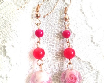 Pink Cherry Quartz, Rose Gold and Rose filled Czech Glass Drop Bead Dangle Earrings - Mid Century Modern - Vintage Inspired