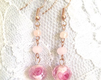 Rose Quartz, Pink Swarovski Crystal and Rose filled Czech Glass Drop Bead Dangle Earrings - Mid Century Modern - Vintage Inspired