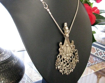 """Antique Indian Amulet, Himachal Pradesh Pendant,  Ethnic Tribal, Silver 80-90%, 46.3 Ggrams, Sterling Silver 18"""" (46cm) Snake Chain"""