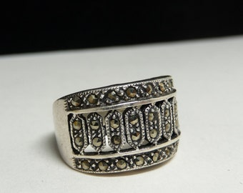 Sterling Marcasite Cigar Band Ring - Wide Band Sterling Silver Pinky Ring - Art Deco Style - Signed 925