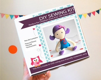 Doll Sewing Kit, Felt Kids' Crafts, Felt Sewing Kit in a Box, 8+ years old craft, No need sewing machine,  A820