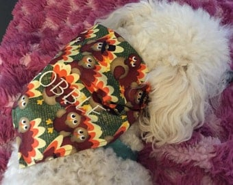 Dog Bandana GOBBLE Thanksgiving Embroidered Turkey Pilgrem