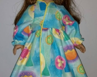 """Colorful floral flannel robe fits 18"""" dolls."""