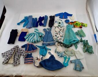 Blue and Green Barbie Clothes Lot 30 pieces swimsuit Dresses Pants Coat Furry Faux Fur Vintage Mod Doll Mattel Accessories