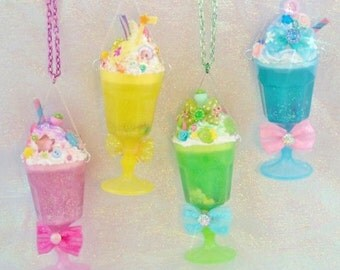 Dreamshake Necklace Strawberry Pink Cyber Candy Decora Milkshake Fairy Kei Kawaii Pendant Deco Parfait Cyberpop Resin Sunue Whipped Cream