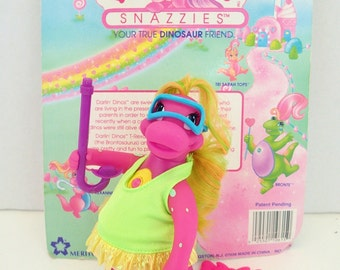 Darlin Dinos Snazzies Snorkeling MOC Pink Action Figure Darling Dinosaur Figurines Figure Doll Brushable Hair Pastel Neon 90s 80s Retro Toys