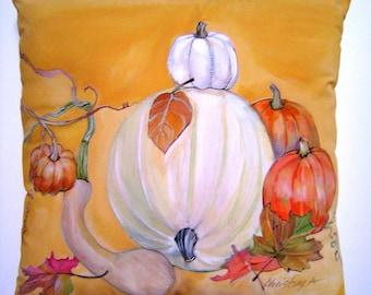 A Pumpkin Scene Pillow 14x14 Hand Painted Original Art White Pumpkin Fall Harvest Squash & Leaves Charming Cottage Home Accent