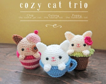 Cozy Cat Trio PDF Crochet Pattern
