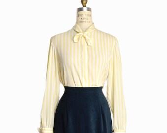 Vintage 80s Striped Tie Neck Blouse in Lemon & White / Working Woman Blouse / Striped Yellow Blouse - women's small/medium