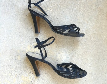 ladies 8 black satin slingback high 4 inch heels 70s vintage ankle strap disco era dressy strappy open toe sandals shoes party dance