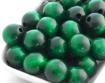 Wooden Beads - Emerald Green 16mm - 10 Beads