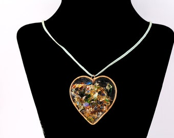 VINTAGE HEART NECKLACE Shattered Broken Stained Glass Handmade Estate Jewelry Ooak Valentines Day Gift