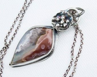 Laguna Agate with Pink and Clear Crystal in Sterling Silver