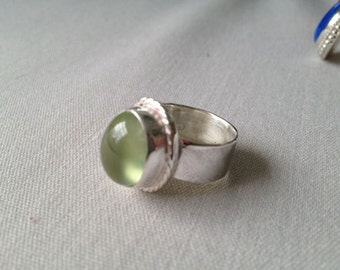 Green Prehnite Ring in sterling silver Size 5.75