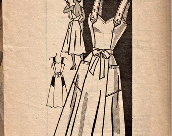 1940's Retro Wrap-Back Sundress Pattern  The American Weekly Mail Order Pattern 3889  Vintage Patterns  Button Straps  Flared Skirt  Bust 30