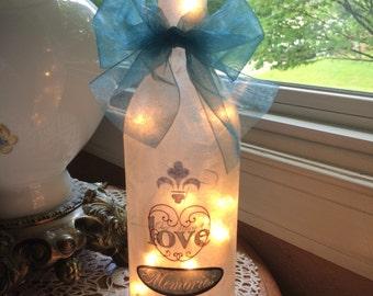 Wine bottle lamp, wine bottle lamps, lighted bottles, lighted wine bottles, wine bottle lights, family, family gift ideas, wine bottle Decor