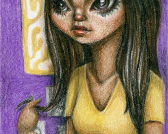 Girl in her Room - Original Illustration, 3 x 5 inches, colored pencil