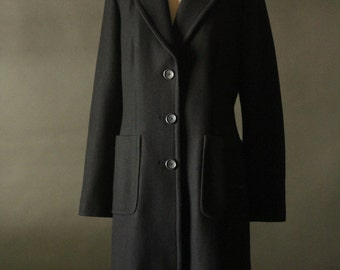 Vintage 90's Black Wool Overcoat by Banana Republic, size M