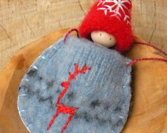 Winter Gnome in Sweater Pouch Necklace, Wearable Doll, Embroidered Snowflake, Deer, Red, Blue, White, Waldorf Gnome, Pouch, Upcycled eco toy