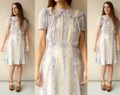 1930's Vintage Antique Delicate Floral Print Semi Sheer Tea Dress Size Small