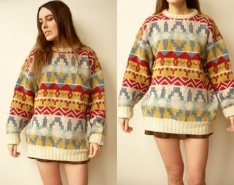 1980's Vintage Aztec Pattern Wool Knitted Slouchy Jumper