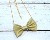 Golden Metallic Cotton Bow-tie Necklace, Bowtie for Women, Girls - 18-20 inches Adjustable Chain - Casual, Bohemian, Party, Wedding, Gift