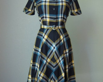 1940s Minty NWOT Cotton Day Dress in Plaid // Belted // Tailored with Gored Skirt // Wildman Original Label