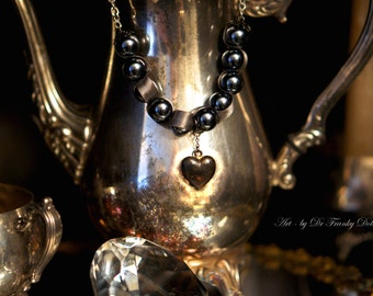 Metal Heart & Pearl Necklace by Fae Factory Visionary Artist Dr Franky Dolan (Original Jewelry Art Antique Heart Large ribbon laced Silver )