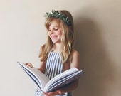 Felt Flower Headband Crown Hair Halo, Hair Flowers, Fall Headband in Sage Green, giddyupandgrow