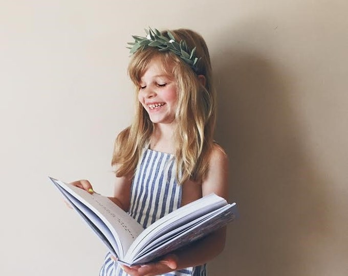 Featured listing image: Felt Flower Headband Crown Hair Halo, Hair Flowers, Fall Headband in Sage Green, giddyupandgrow