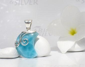 Larimar moon by Larimarandsilver, Moon Gipsy - bohemian blue Larimar crescent, sea blue, blue moon, navy blue, handmade moon Larimar pendant