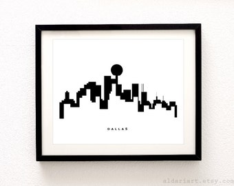 Dallas Skyline Print - Dallas Wall Art - Dallas Skyline Poster - Dallas Print - Modern Decor - Minimalist Art Print - Aldari Art