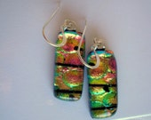 Earrings Pink and Green with Black Stripes Color Shifting Dichroic Glass Earrings Spring Colors Sparkle Earrings Fused Dichroic Jewelry Boho